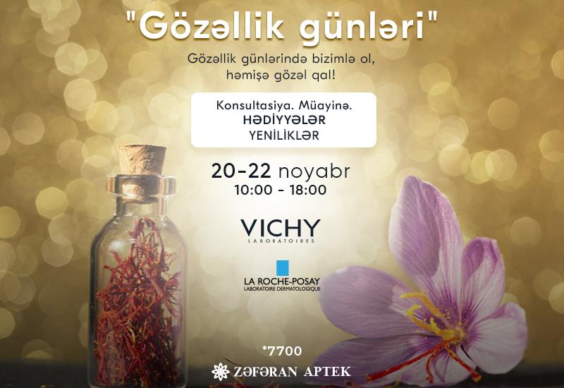 """20-22 noyabr Zəfəran Apteklərdə """"Gözəllik günü"""""""