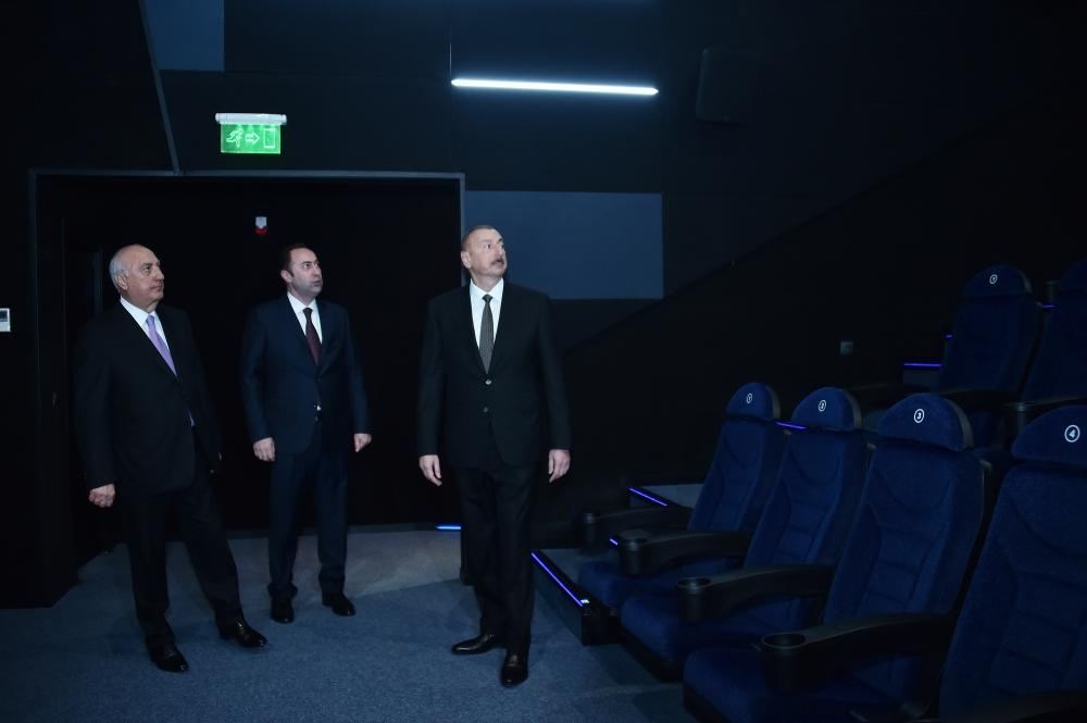 """Президент Ильхам Алиев принял участие в открытии нового здания кинотеатра """"Низами"""" в Сумгайыте"""