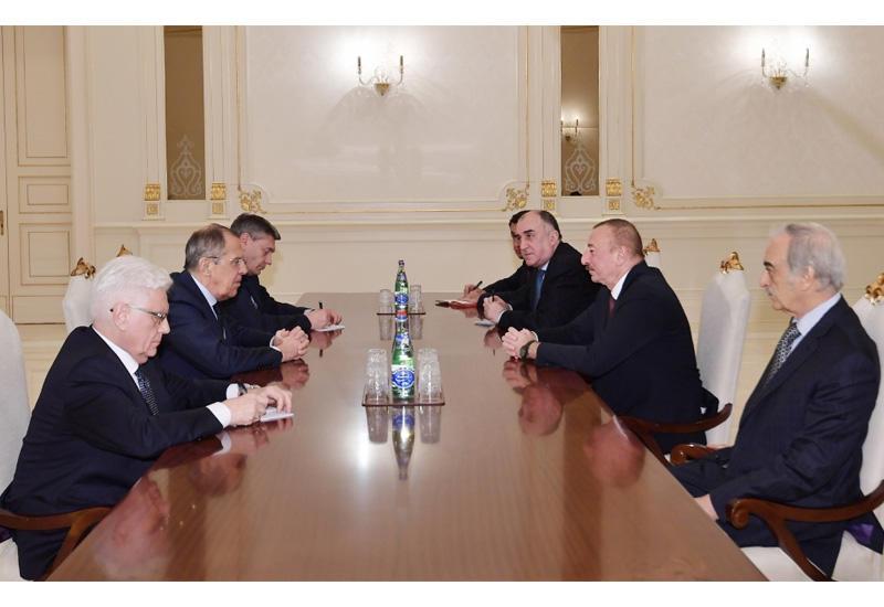 Президент Азербайджана Ильхам Алиев принял министра иностранных дел России