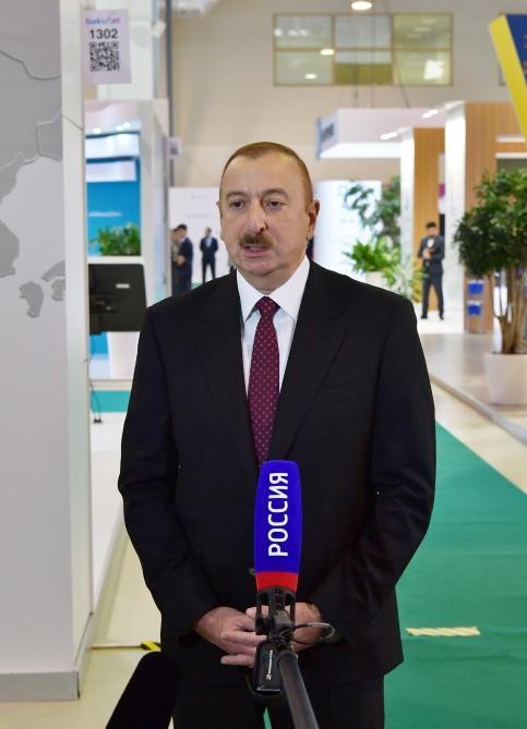Телеканал «Россия-24» показал репортаж о выставке «Bakutel». В репортаж вошло и интервью Президента Ильхама Алиева