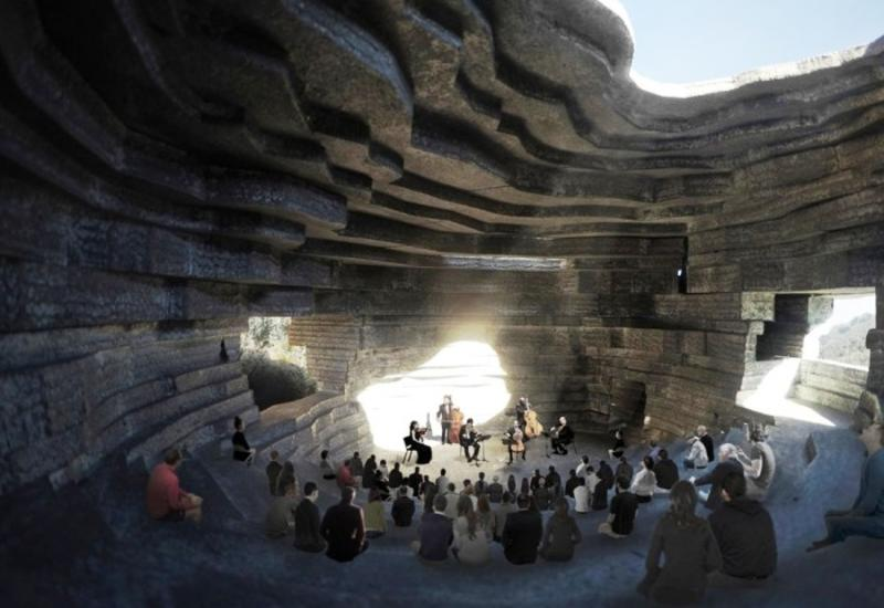 В Китае заканчивается строительство концертного зала «Часовня Звука» среди скалистых гор