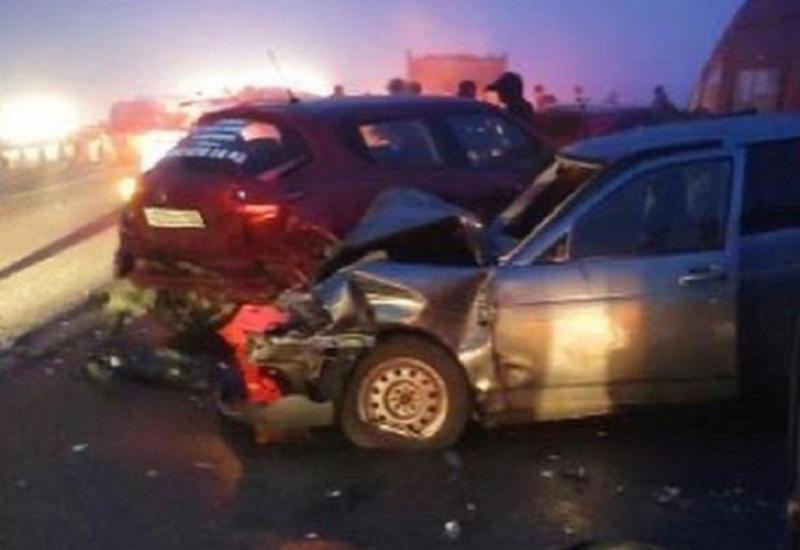 Столкновение 25 машин в России попало на камеры