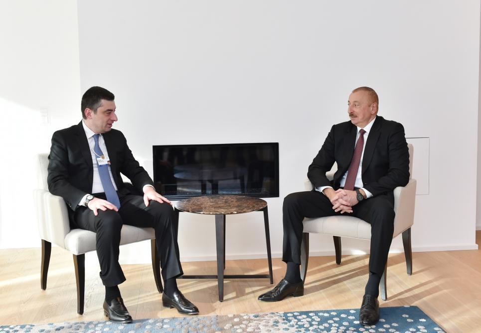 В Давосе состоялась встреча Президента Ильхама Алиева с премьер-министром Грузии