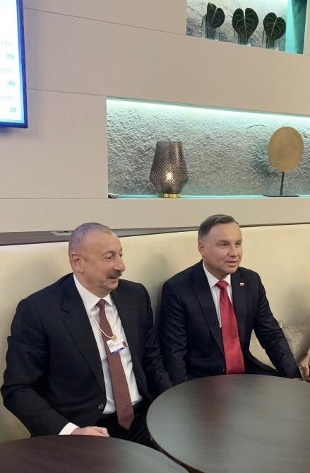 В Давосе состоялась встреча Президента Ильхама Алиева и Президента Польши Анджея Дуды