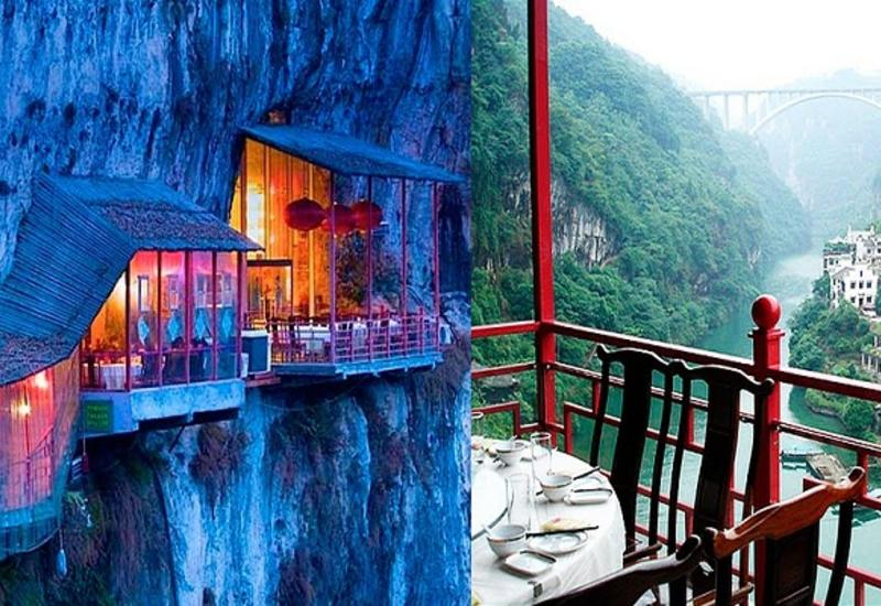 Китайцы построили ресторан на краю пропасти