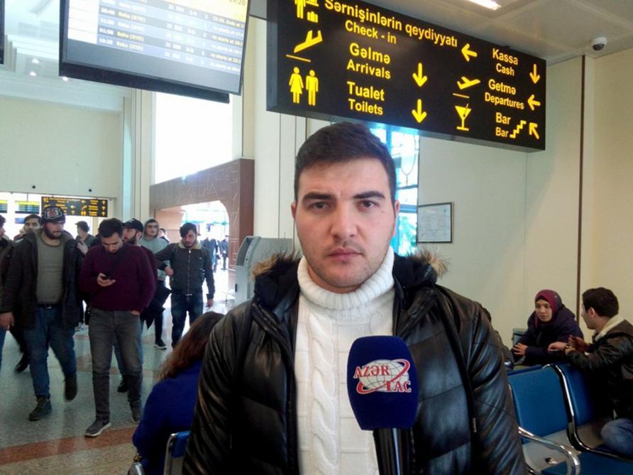 Азербайджанские студенты поблагодарили Президента Ильхама Алиева за помощь в эвакуации из зоны землетрясения