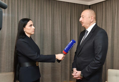 Президент  Ильхам Алиев в рамках Всемирного экономического форума в Давосе дал интервью российскому телеканалу «Россия-24» - ФОТО - ВИДЕО
