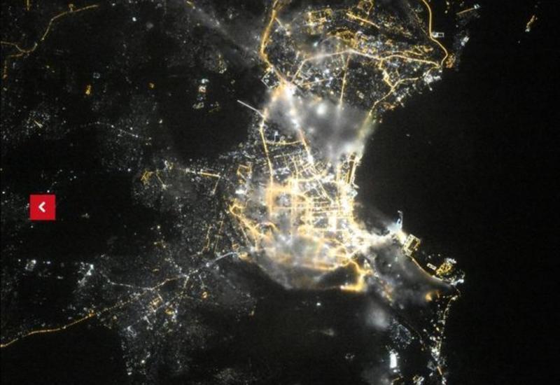 Российский космонавт показал, как выглядит ночной Баку из космоса