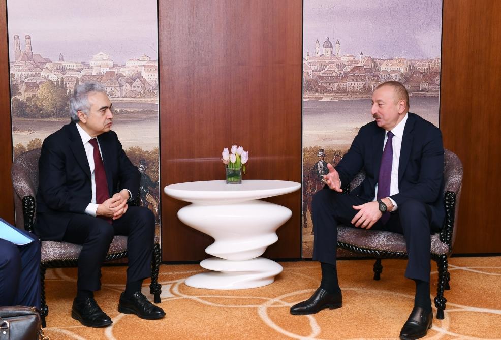Президент Ильхам Алиев встретился в Мюнхене с исполнительным директором Международного энергетического агентства