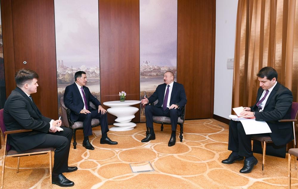 Президент Ильхам Алиев встретился в Мюнхене с генеральным секретарем ШОС
