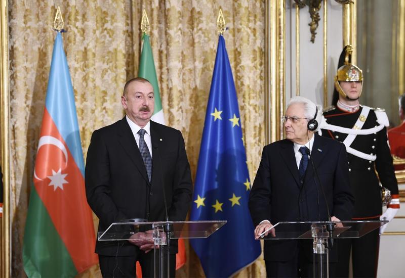 Президенты Азербайджана и Италии выступили с заявлениями для печати