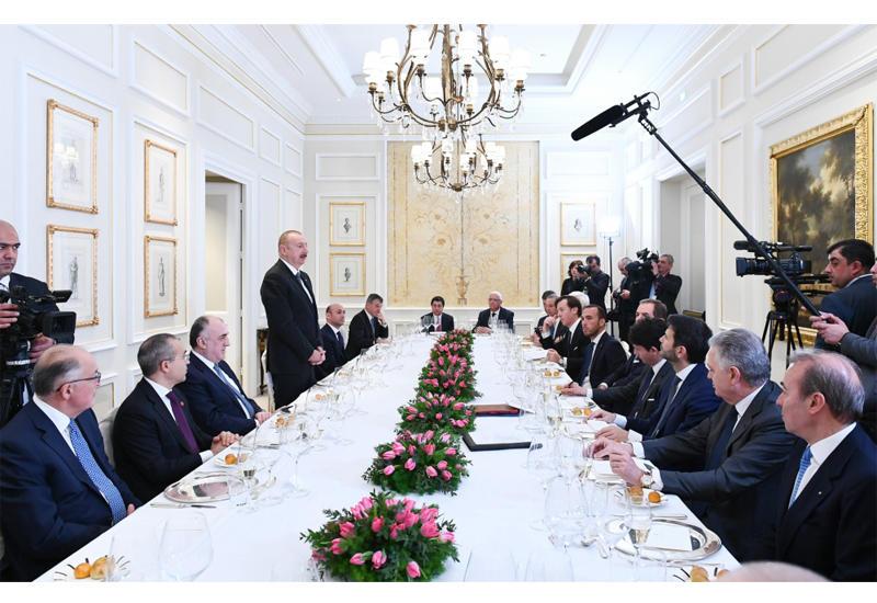 Президент Ильхам Алиев провел рабочий обед с руководителями крупнейших компаний Италии