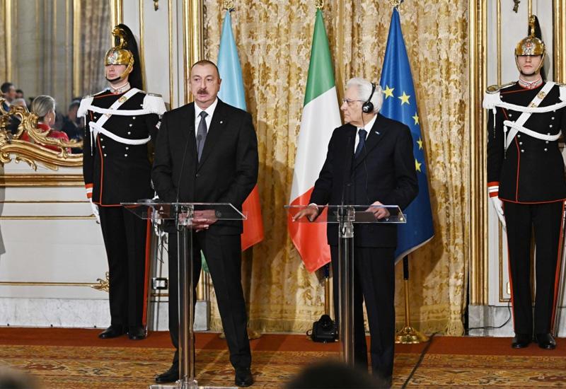 Президент Ильхам Алиев: Италия и Азербайджан уважают и поддерживают территориальную целостность, суверенитет друг друга, неприкосновенность границ