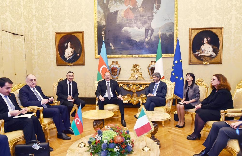 Президент Ильхам Алиев встретился в Риме с председателем Палаты депутатов Италии