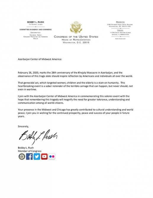 Американские сенатор и конгрессмен обратились к азербайджанской общине США в связи с Ходжалинским геноцидом