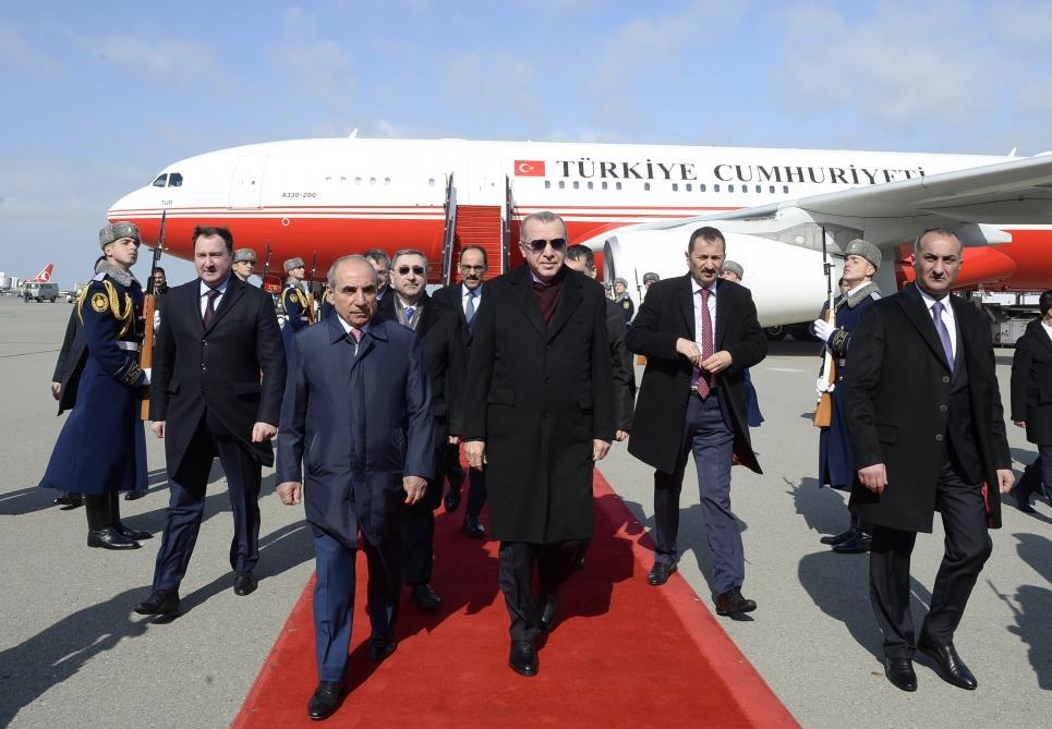 Реджеп Тайип Эрдоган прибыл с визитом в Азербайджан