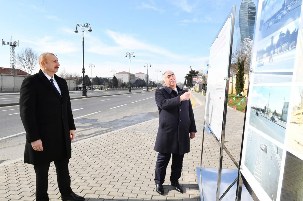 Президент Ильхам Алиев принял участие в открытии подземного пешеходного перехода на пересечении проспекта Гейдара Алиева и улицы Зеки Мамедова