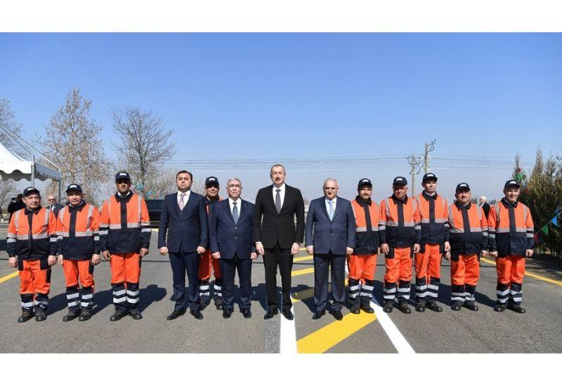 Президент Ильхам Алиев принял участие в открытии автомобильной дороги в Товузе после реконструкции