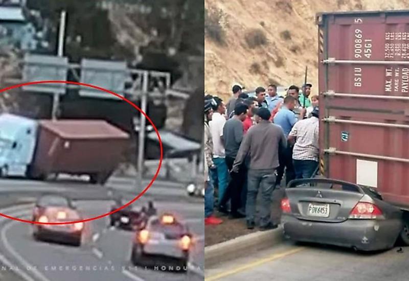 Водитель чудом уцелел, когда контейнер расплющил его автомобиль