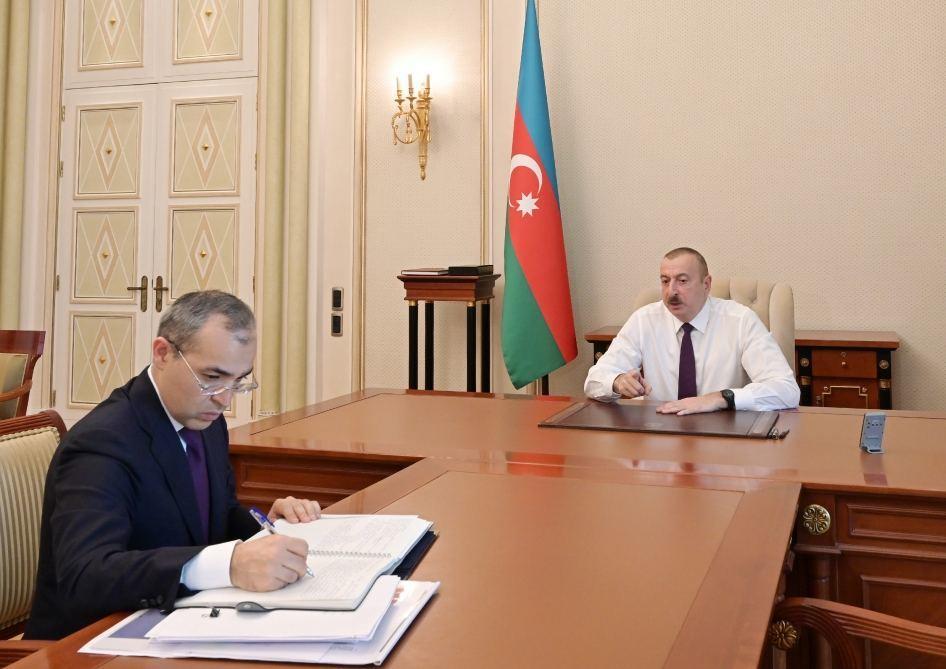 Президент Ильхам Алиев принял министра экономики Микаила Джаббарова