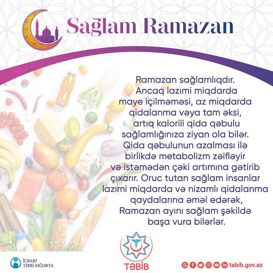 TƏBİB Ramazan ayı ilə bağlı vətəndaşlara müraciət etdi