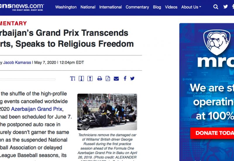 CNSNews: Azərbaycan Qran-Prisinin idman sərhədlərini aşması dini etiqad azadlığına sübutdur