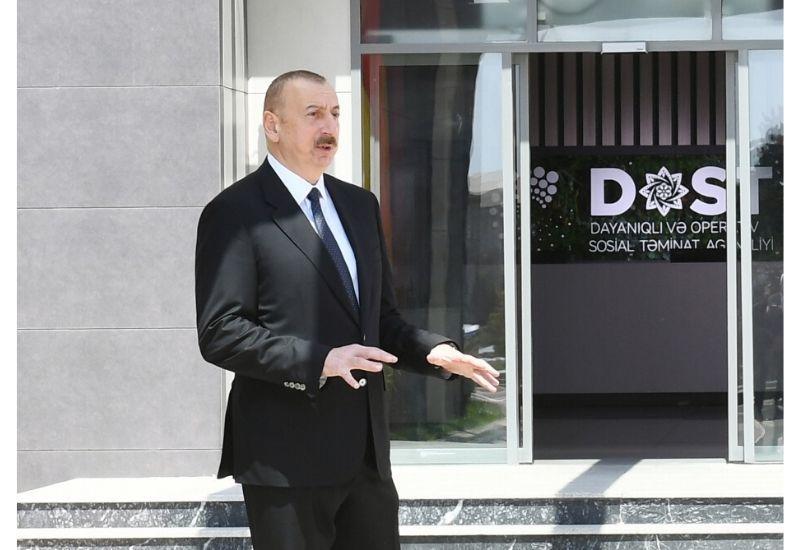 Президент Ильхам Алиев: Начало функционирования центров DOST – наглядное проявление работы, проводимой в социальной сфере, осуществляемых реформ