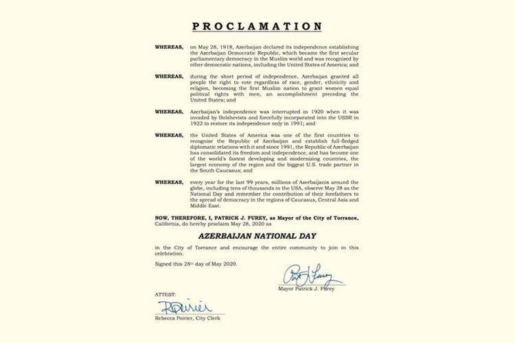 В Калифорнии 28 мая объявлен «Национальным днем Азербайджана»