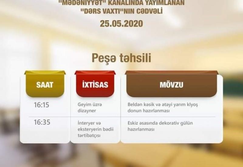 В Азербайджане опубликовано расписание телеуроков по профобразованию на завтра