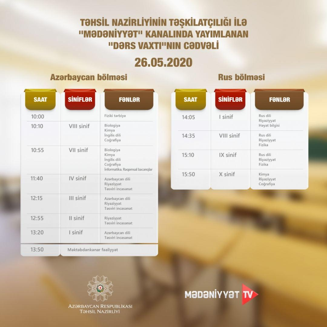 Расписание школьных телеуроков в Азербайджане на завтра
