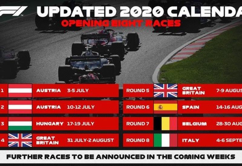 Уточнены даты проведения первых 8 этапов Гран-при «Формула-1»