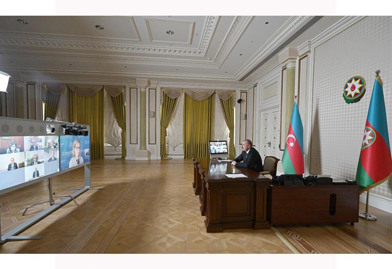 Состоялась видеоконференция между Президентом Ильхамом Алиевым и новым вице-президентом и другими представителями Всемирного банка