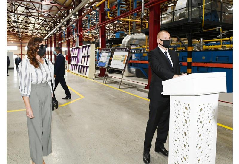 Президент Ильхам Алиев и Первая леди Мехрибан Алиева приняли участие в открытии завода по производству стройматериалов в Гяндже