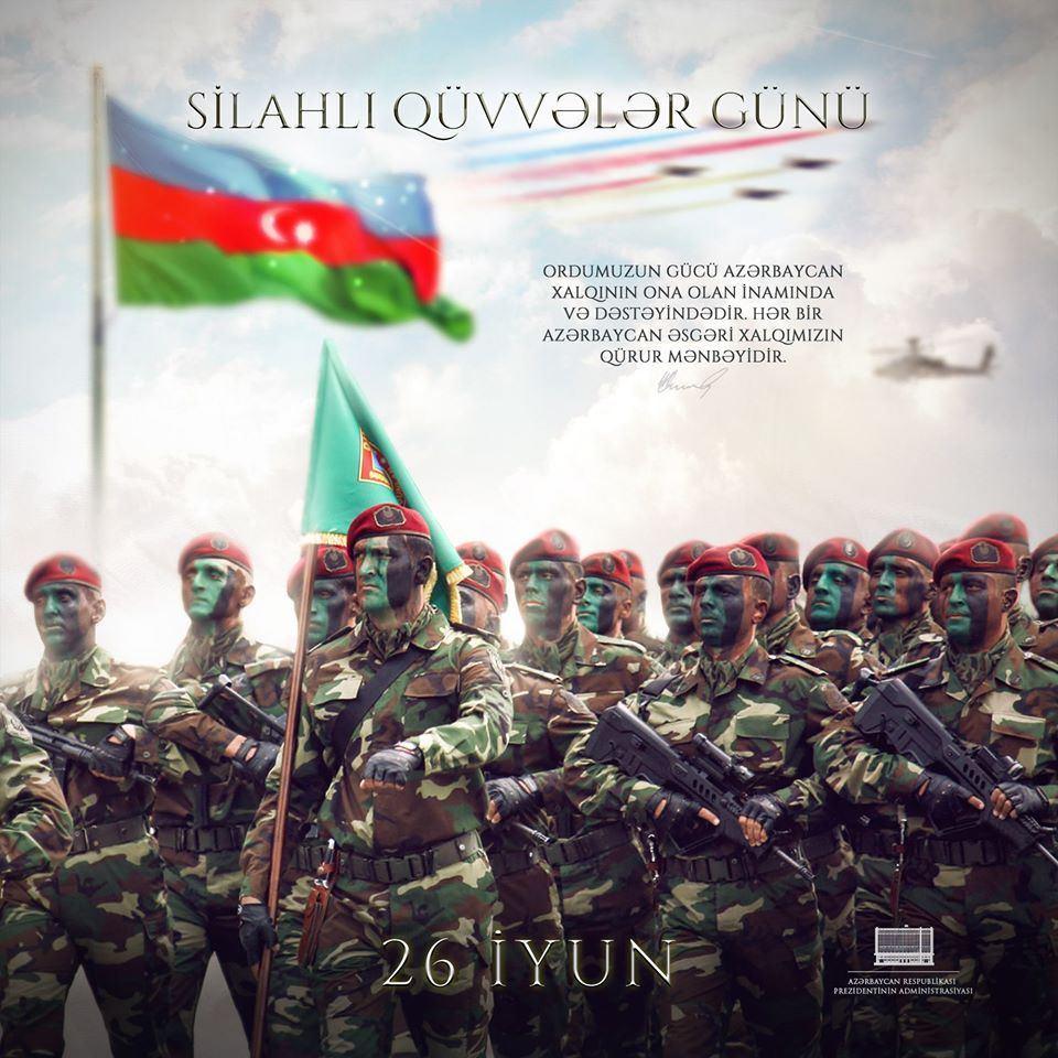 На официальной странице Президента Ильхама Алиева в Facebook размещена публикация по случаю Дня Вооруженных сил