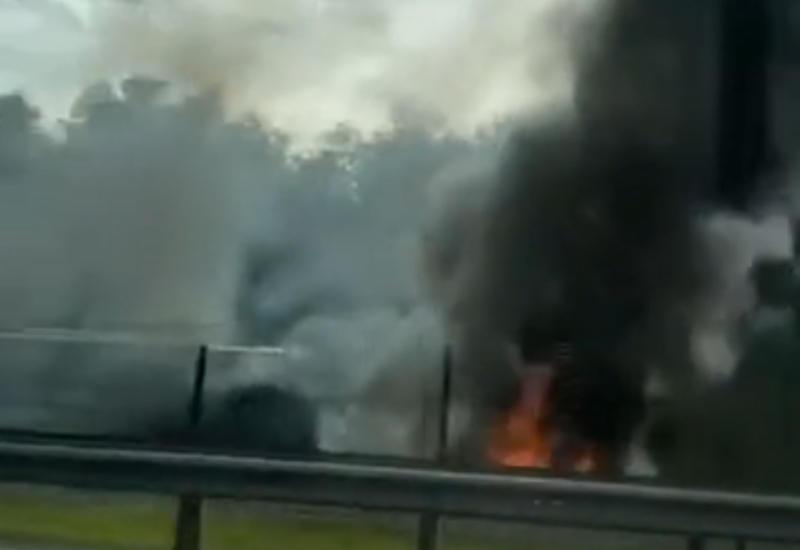 На юге Москвы загорелся рейсовый автобус