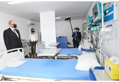 Президент Ильхам Алиев и Первая леди Мехрибан Алиева приняли участие в открытии модульного госпиталя для лечения больных коронавирусом в Баку - ФОТО - ВИДЕО