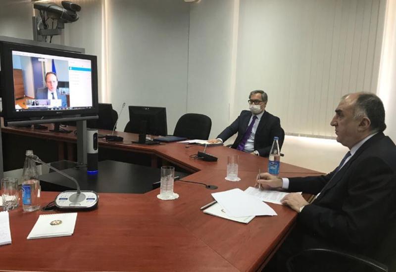 Эльмар Мамедъяров провел переговоры с еврокомиссаром Оливером Вархельи в формате видеоконференции