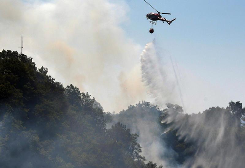 В Габале начался пожар, к тушению привлечены вертолеты