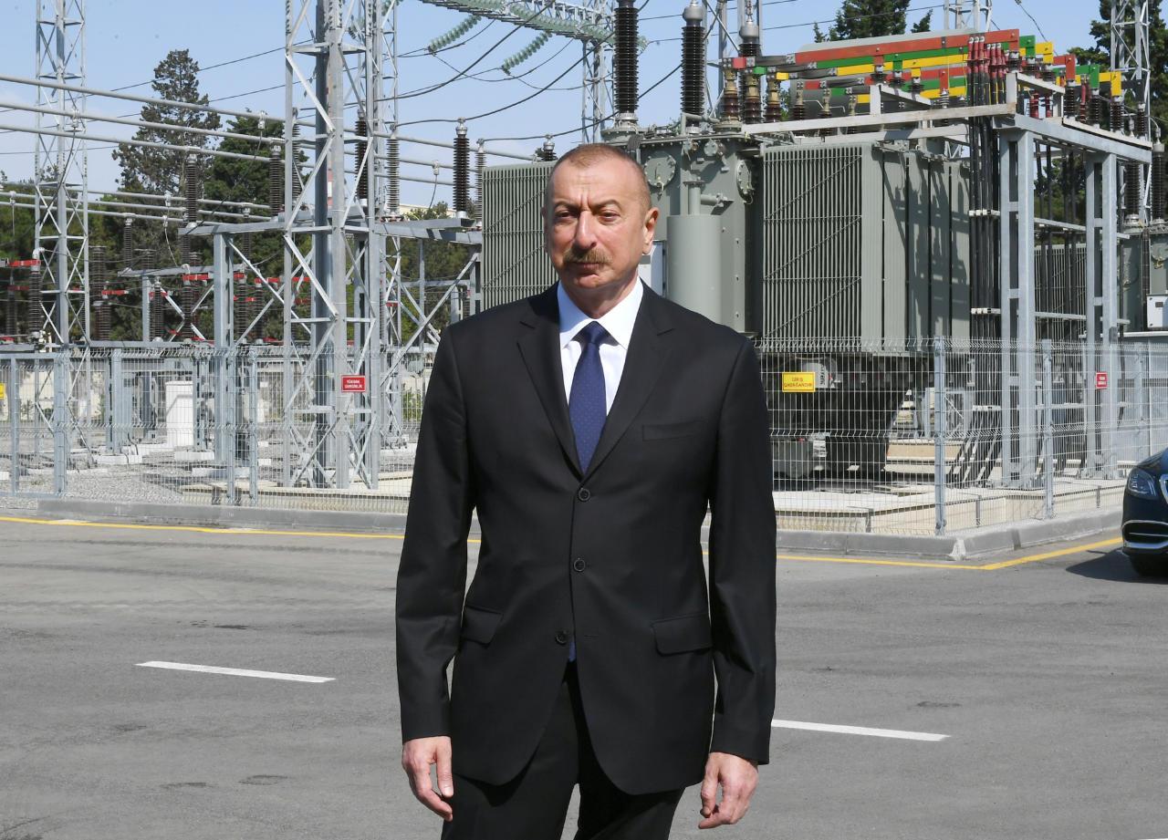"""Президент Ильхам Алиев принял участие в открытии подстанции """"8-й км"""" в Низаминском районе Баку после реконструкции"""