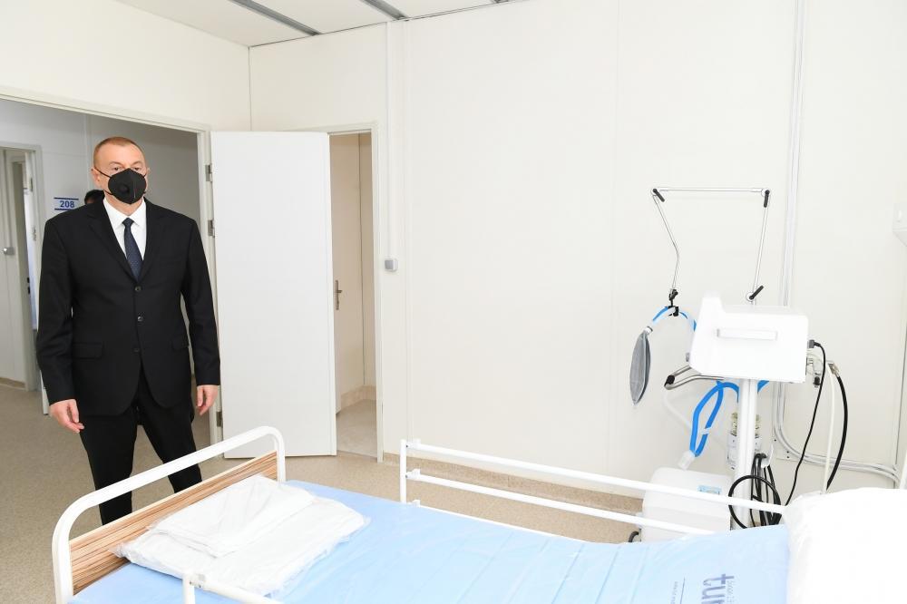 Президент Ильхам Алиев ознакомился с условиями, созданными в больнице модульного типа в Шеки