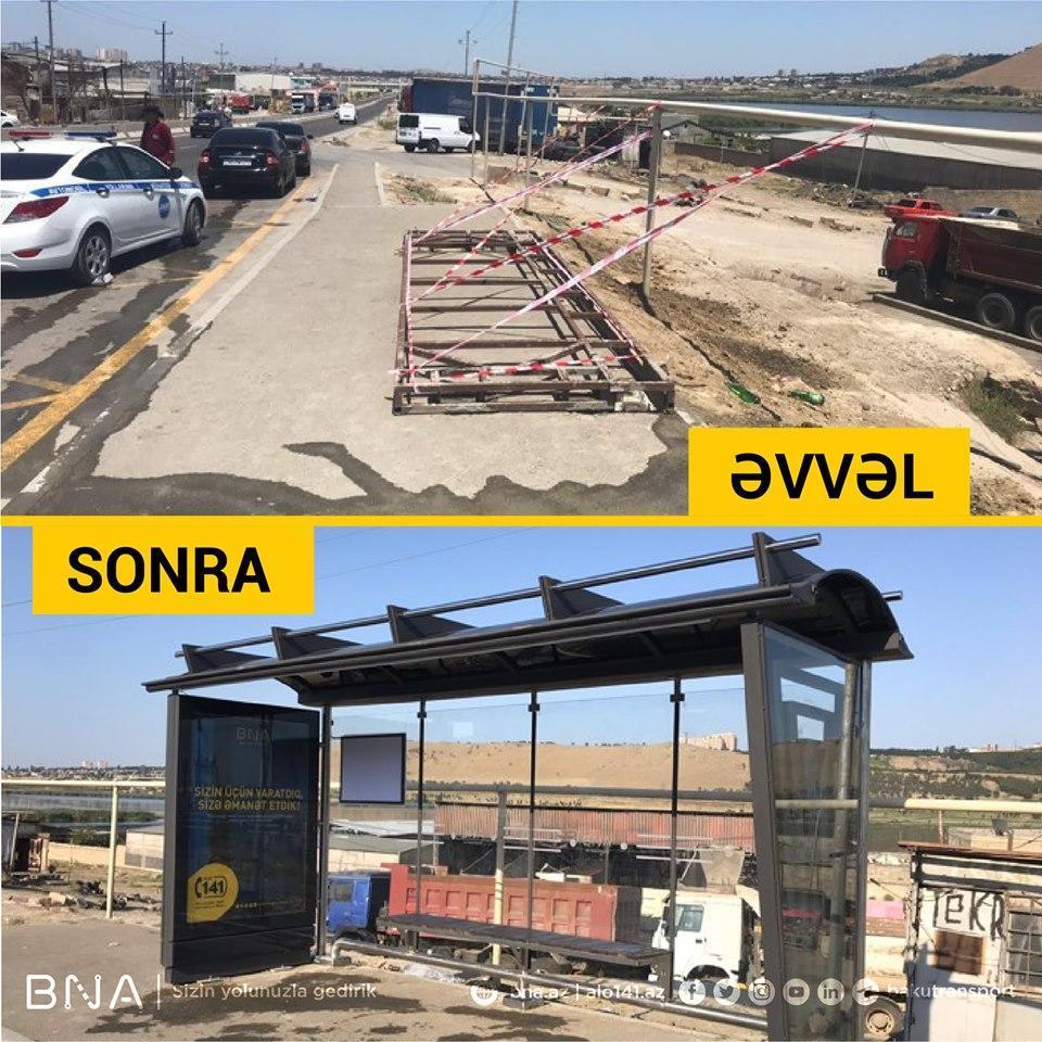 В Баку устанавливают новые автобусные павильоны