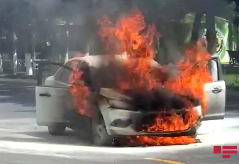 В Гёйгёле сгорел автомобиль