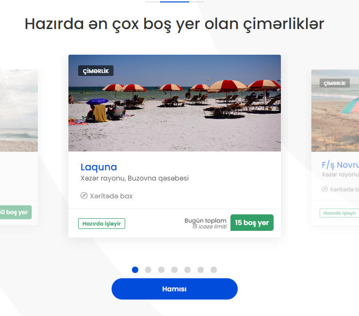 Azərbaycanda çimərliklərdə yer tutmaq üçün