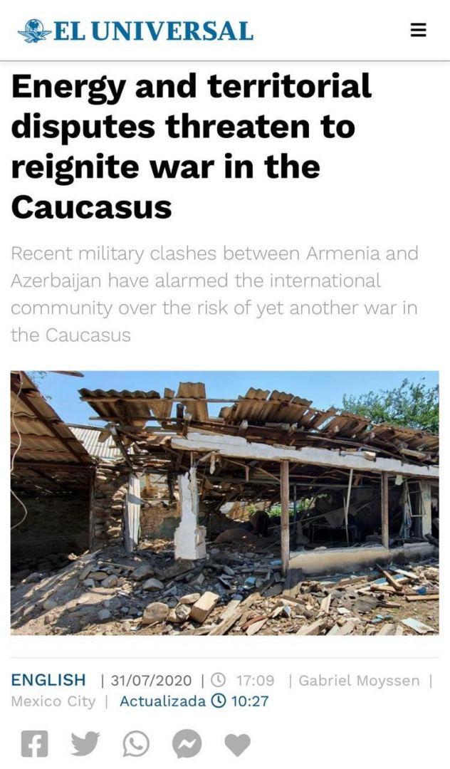 Влиятельный печатный орган Мексики опубликовал статью о недавней военной провокации Армении