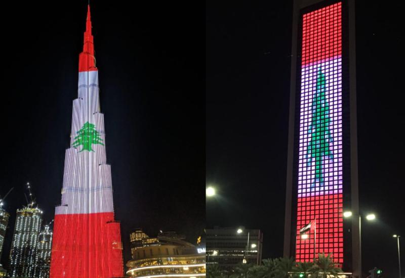 Пирамиды в Египте и Бурдж-Халифе в Дубае осветили в цвета флага Ливана