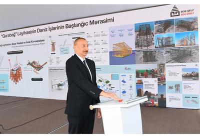 Президент Ильхам Алиев принял участие в церемонии отправки в море опорного блока месторождения «Карабах» - ФОТО - ВИДЕО
