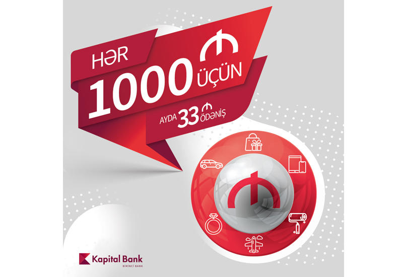 Платите 33 маната в месяц за каждые 1000 манатов кредита (R)