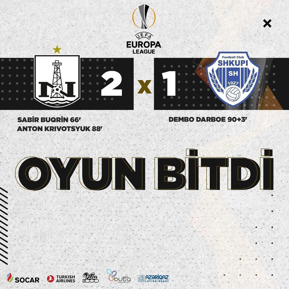 Нефтчи обыграл Шкупи и вышел во 2-й раунд Лиги Европы