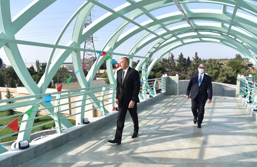 Президент Ильхам Алиев принял участие в открытии надземного пешеходного перехода на автомобильной дороге Мардакян-Загульба
