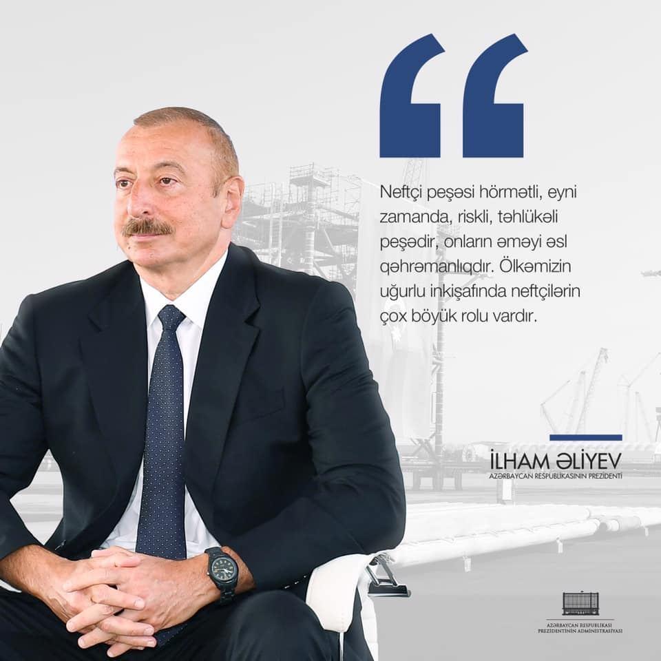 На официальной странице Президента Ильхама Алиева в Facebook размещена публикация в связи с Днем нефтяника